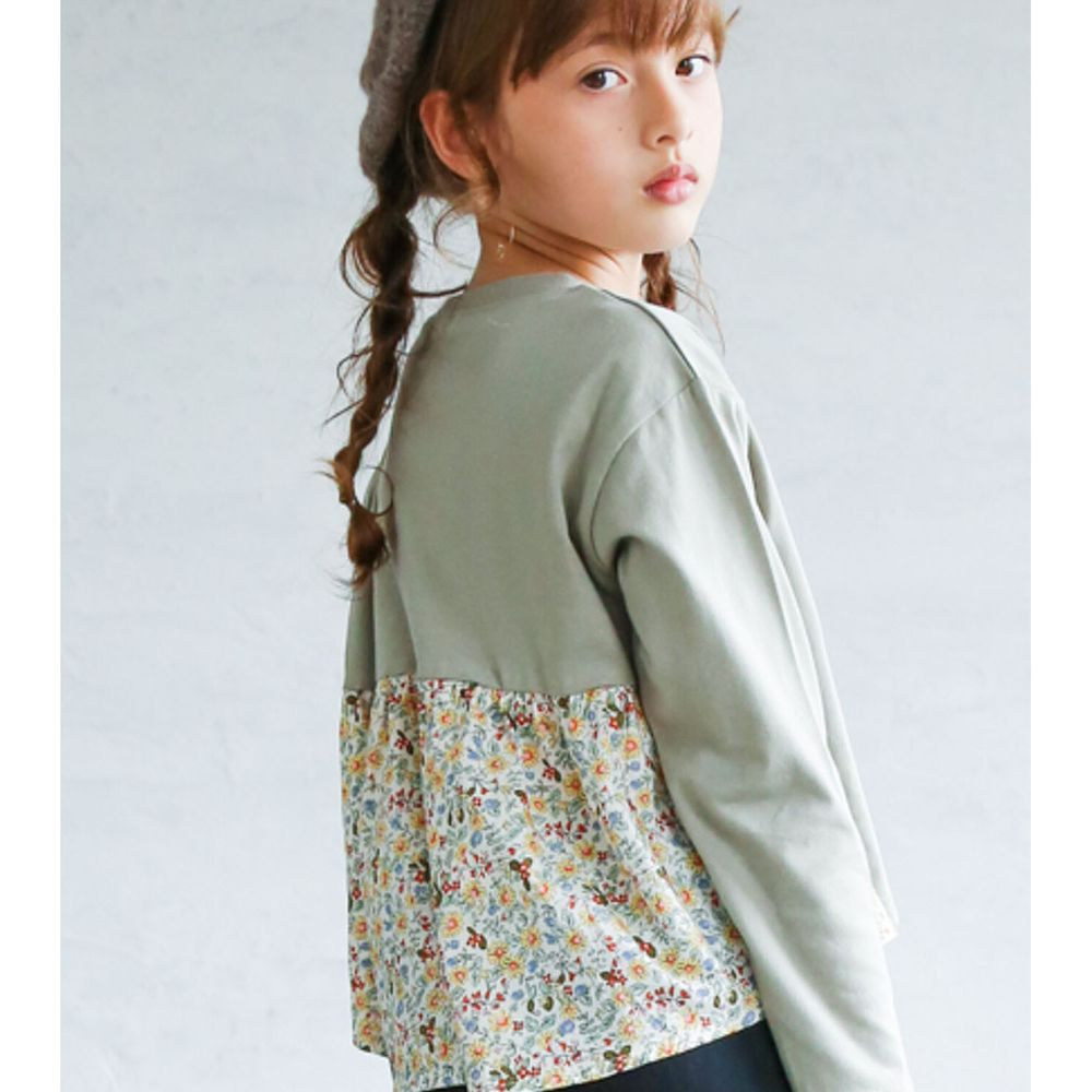 日本 PAIRMANON - 100%柔棉 前後拼接長袖上衣-碎花-灰綠X白