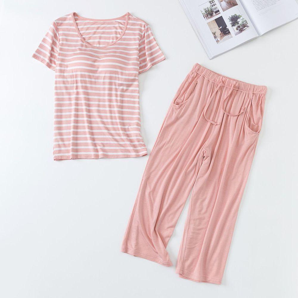 莫代爾柔軟涼感Bra T家居服-七分褲套裝-粉白條紋