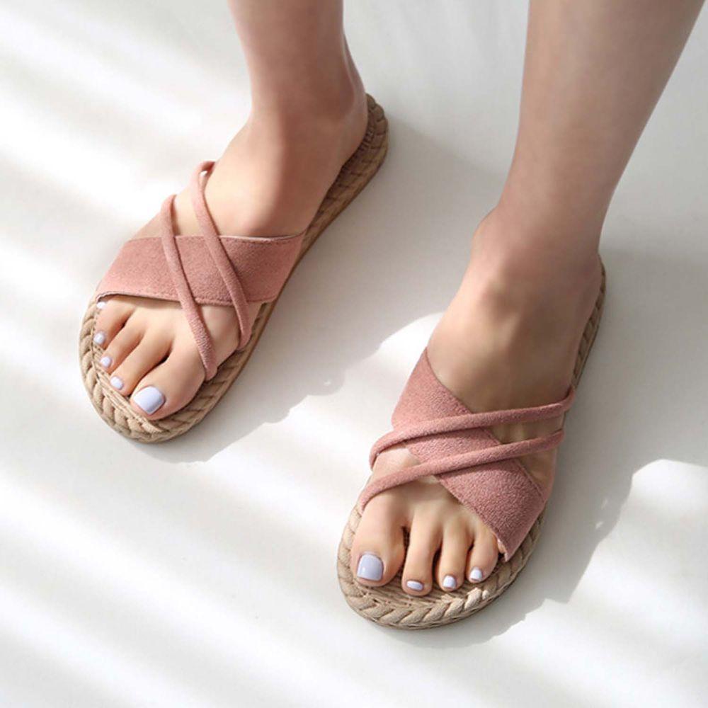 韓國 Dangolunni - 交叉編織拖鞋-粉紅