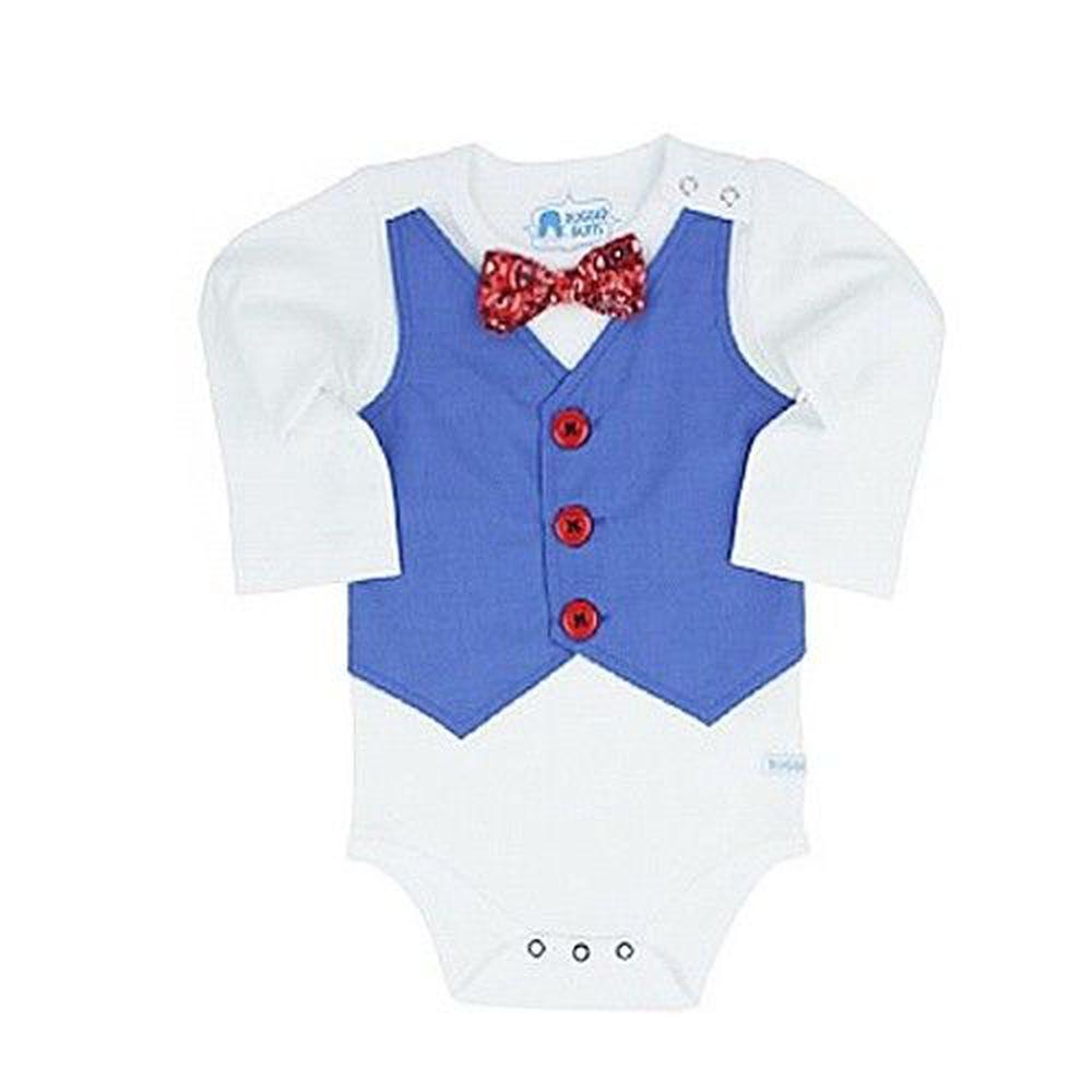 美國 RuffleButts - 長袖包屁衣-藍西裝背心 ([6-12m])