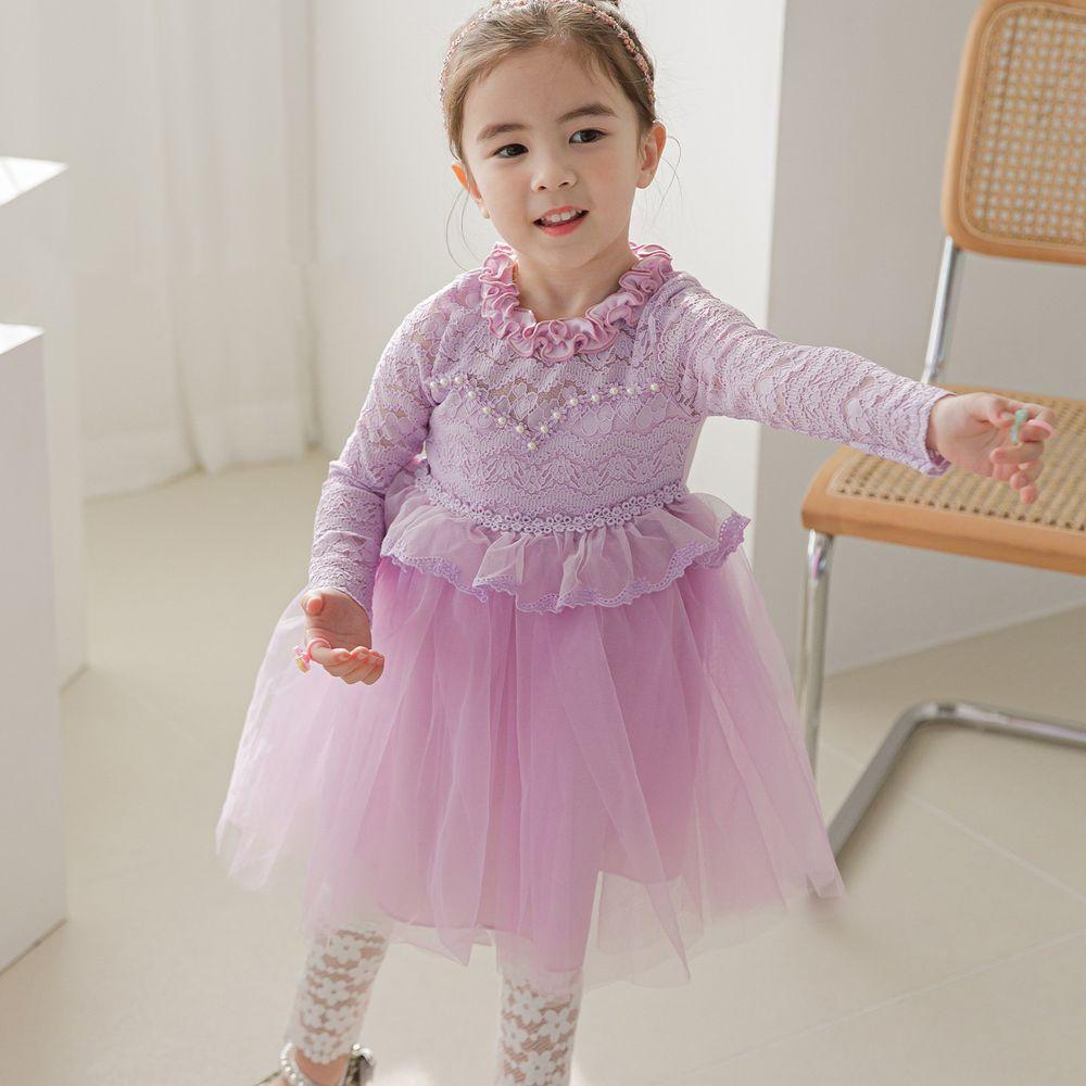 韓國 mari an u - 珍珠蕾絲上衣拼接網紗洋裝-薰衣紫