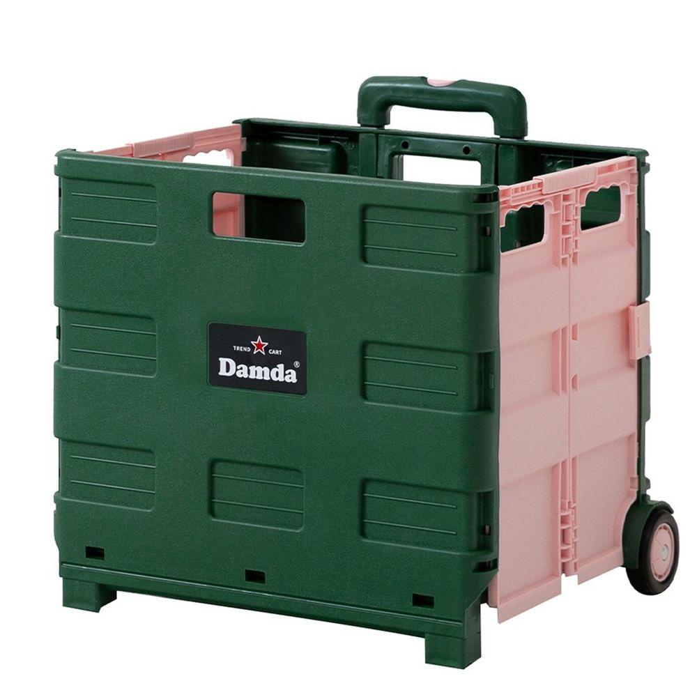 韓國 Damda - 折疊收納手拉車-大-綠/粉紅-尺寸:42X36.5cm, 容量57L
