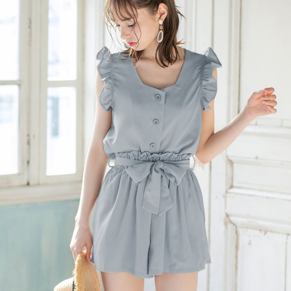 日本 GRL - 荷葉滾邊無袖襯衫上衣X綁帶短褲套裝-天空藍