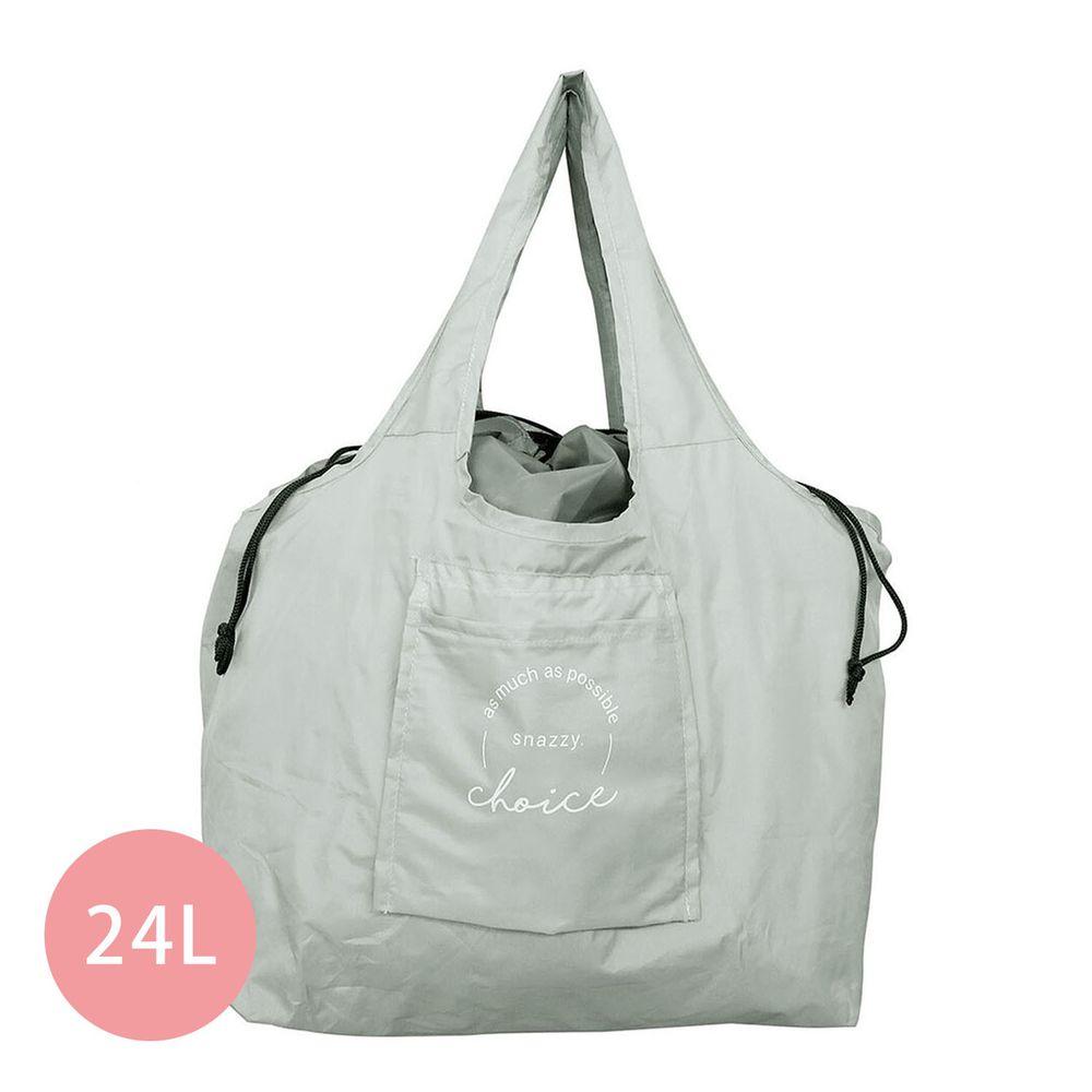 日本 Chepeli - 超大容量保冷購物袋(可折疊收納)-文青英文線條-星塵綠-24L/耐重15kg