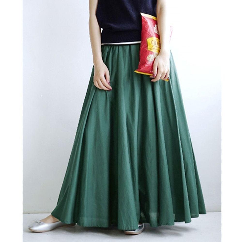 日本 zootie - 100%印度棉舒適傘狀長裙-青春綠 (Free)