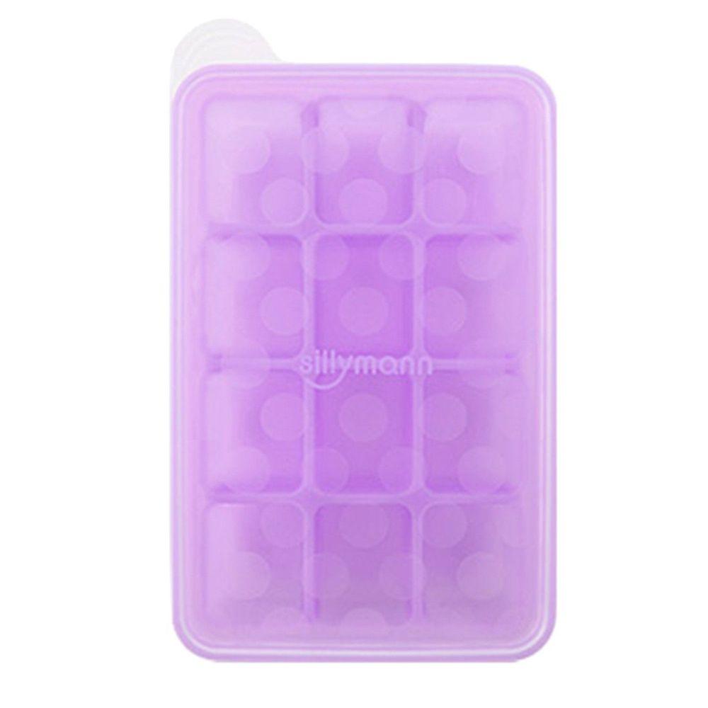 韓國 sillymann - 100%鉑金矽膠副食品分裝盒-12格-紫色-30ml/格