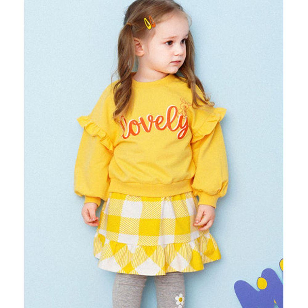 韓國 HEJMINI - 假兩件荷葉裝飾袖格子洋裝-黃