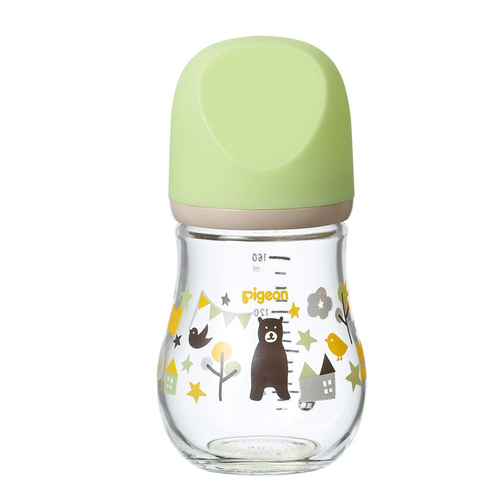 貝親 Pigeon - 寬口母乳實感玻璃奶瓶-設計款熊-綠 (0個月新生兒)-奶嘴配件SS/瓶身160ml
