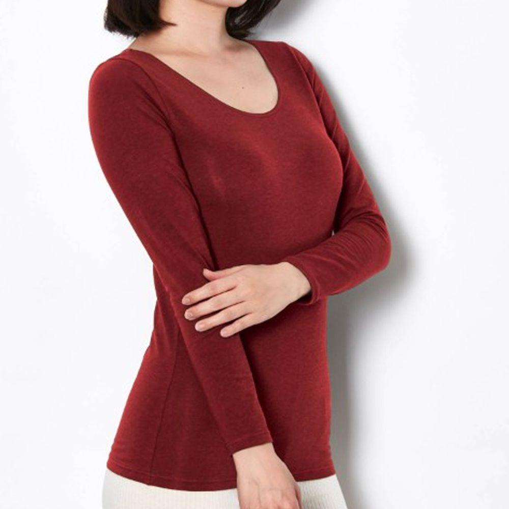 日本千趣會 - 95%棉 (媽媽)圓領十分袖發熱衣-酒紅