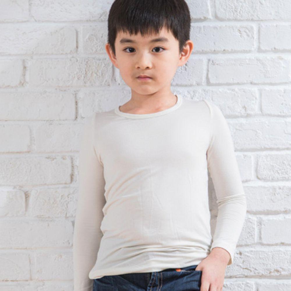 貝柔 Peilou - TENCEL日本吸濕發熱纖維保暖衣-童圓領-米白