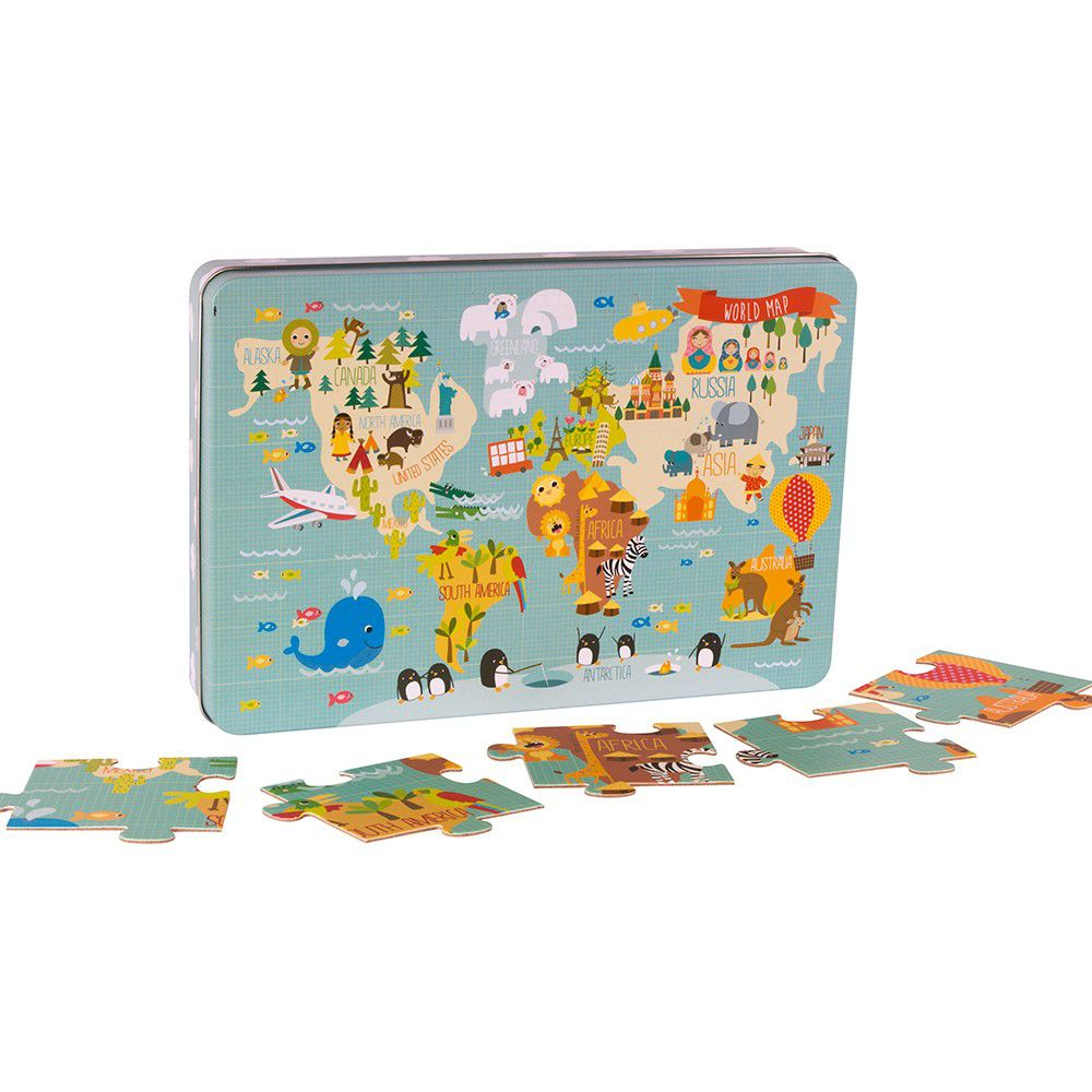西班牙 APLI - 【獨家降價出清】童趣世界拼圖-24片+收納鐵盒1個
