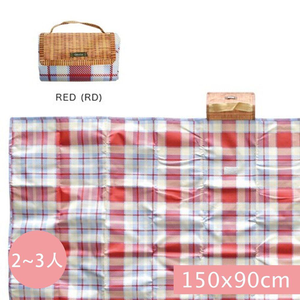 日本現代百貨 - 輕便可收納 防水野餐墊(2-3人)-紅藍格紋 (150x90cm)