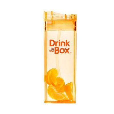 Tritan兒童戶外方形吸管杯-橘色 (355ML)