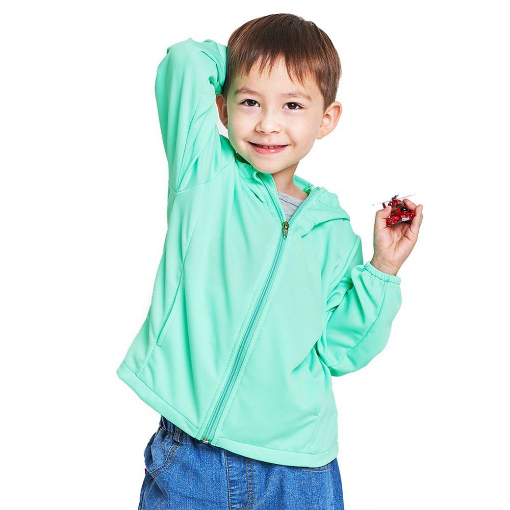 GIAT - A級防曬吸濕排汗連帽外套(兒童款)-蘋果綠