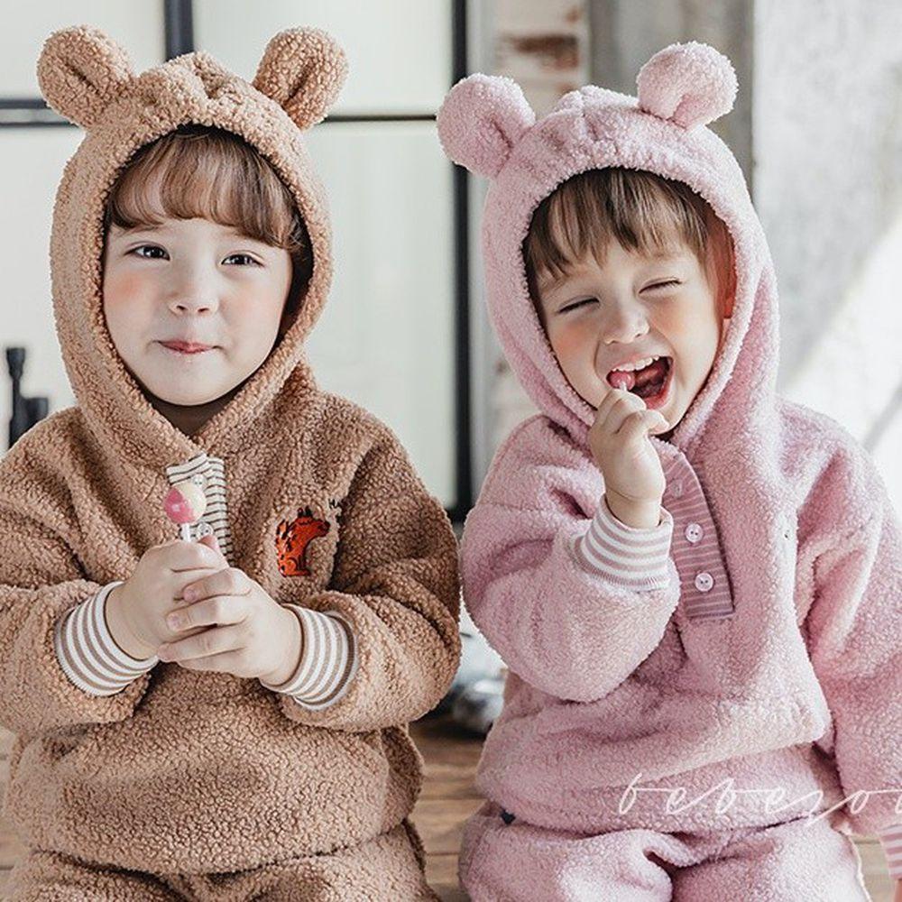 韓國 Bebezoo - 熊耳朵造型搖粒絨套裝-粉紅