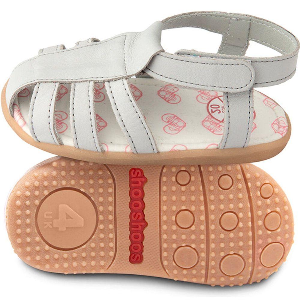 英國 shooshoos - 健康無毒真皮手工涼鞋/童鞋-灰色羅馬涼鞋