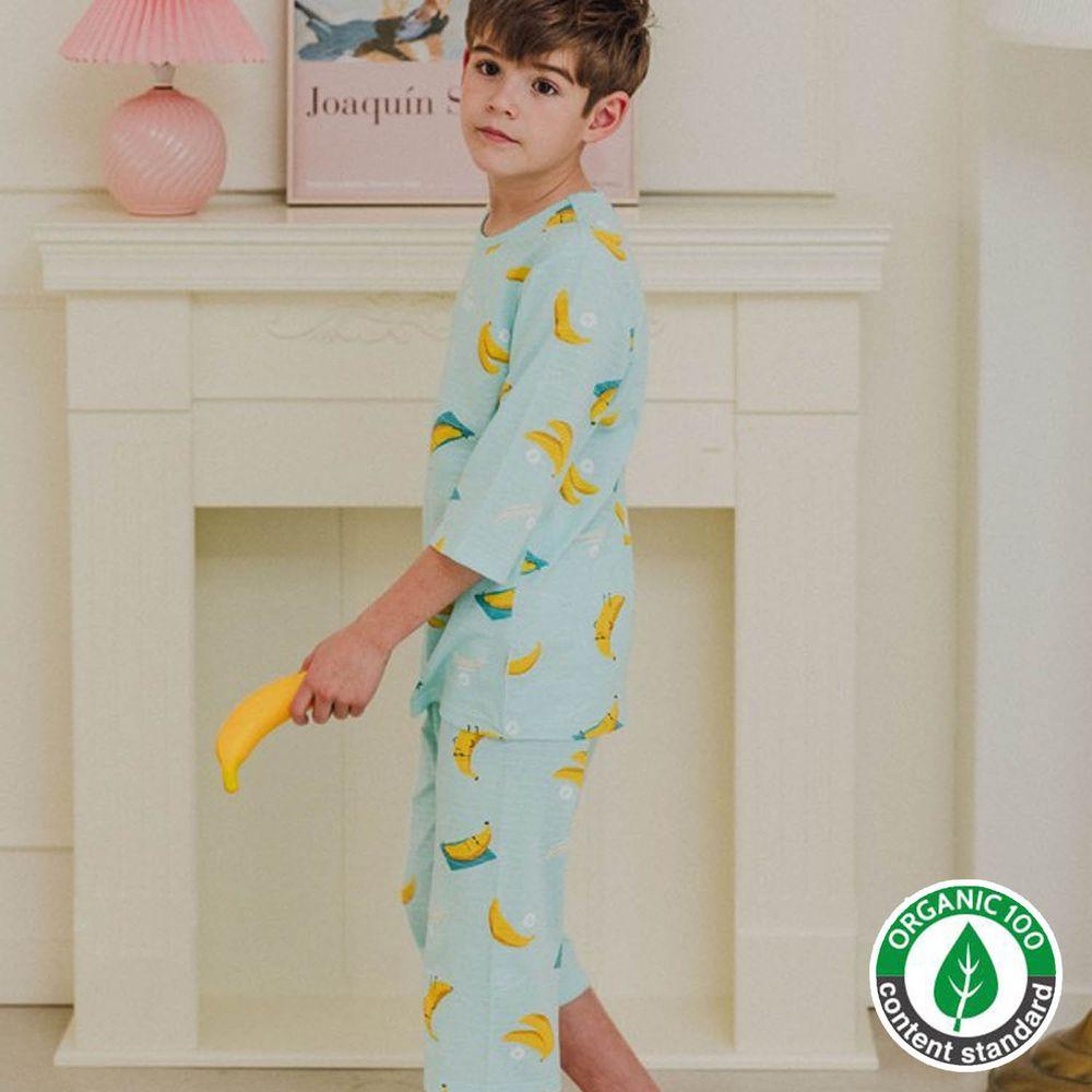 韓國 Mavarm Organic - 有機棉透氣七分袖家居服-香蕉王國