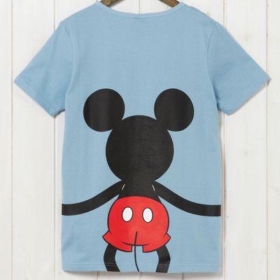 米奇抱抱純棉短袖T恤-爸爸-藍