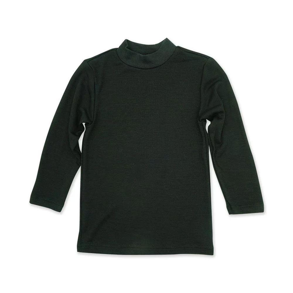 Annypepe - 兒童美麗諾羊毛親膚長袖內衣(裏棉外毛)-小立領-黑色 (100-150cm)