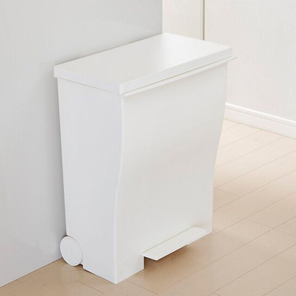 日本岩谷Iwatani - 日本製曲線寬型可分類腳踏垃圾桶(附輪)-39L-白