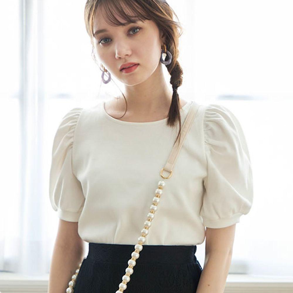 日本 GRL - 浪漫薄紗綁帶短袖上衣-天使白