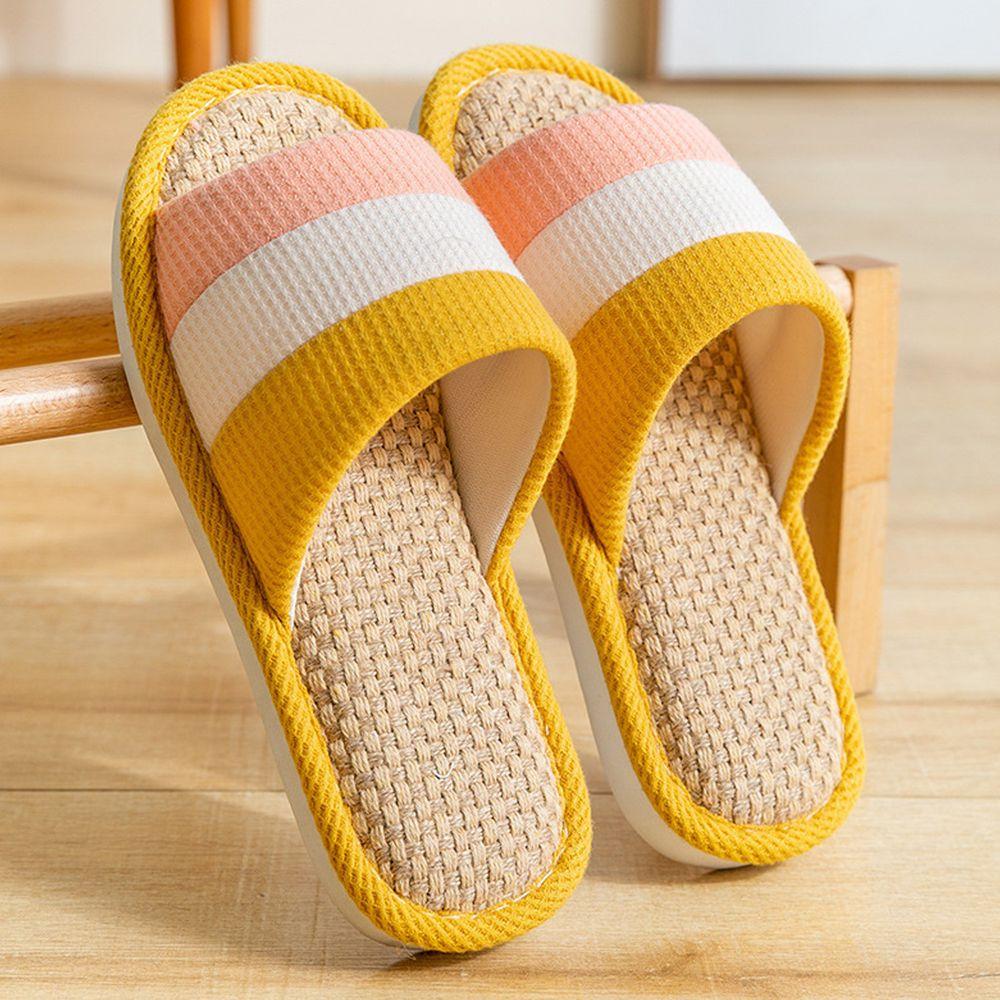 亞麻室內拖鞋-拼色-黃色
