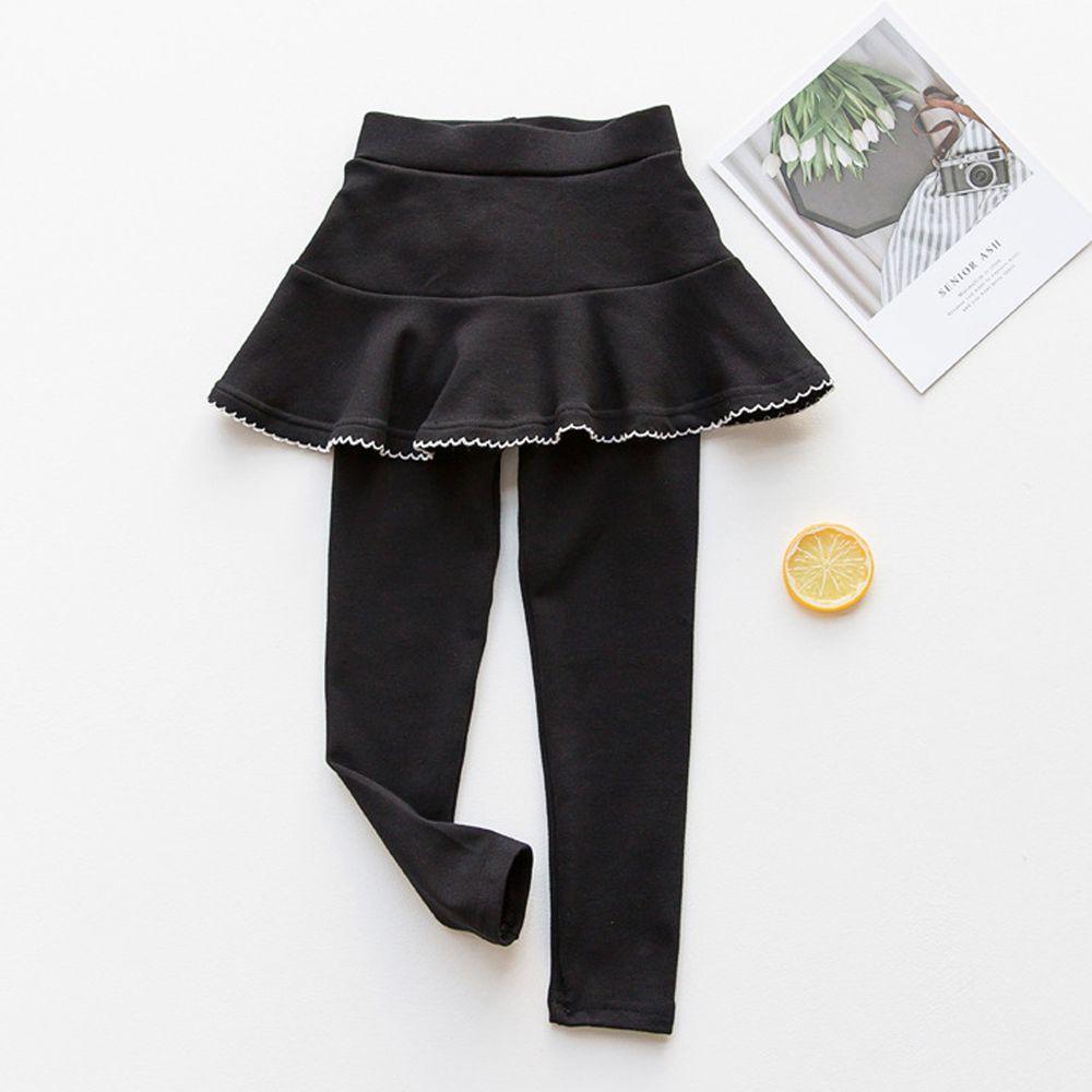 FANMOU - 內搭褲裙-花邊裙擺-黑色