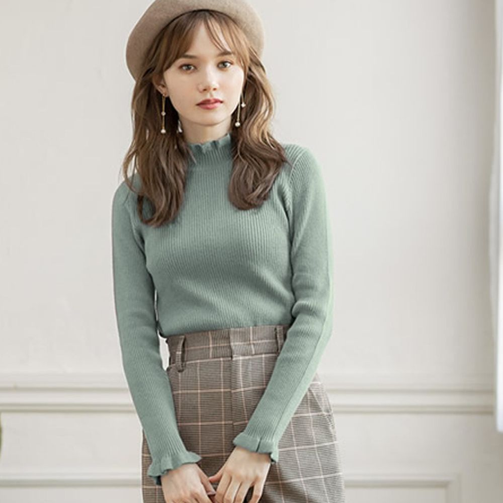 日本 GRL - 合身修飾花邊袖領口針織上衣-薄荷綠