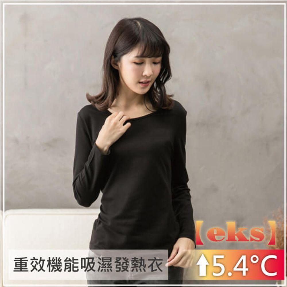 貝柔 Peilou - 貝柔EKS重效機能發熱保暖衣-女圓領-黑