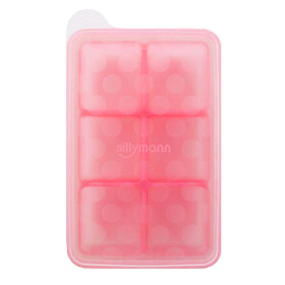 韓國 sillymann - 100%鉑金矽膠副食品分裝盒-6格-粉紅-50ml/格
