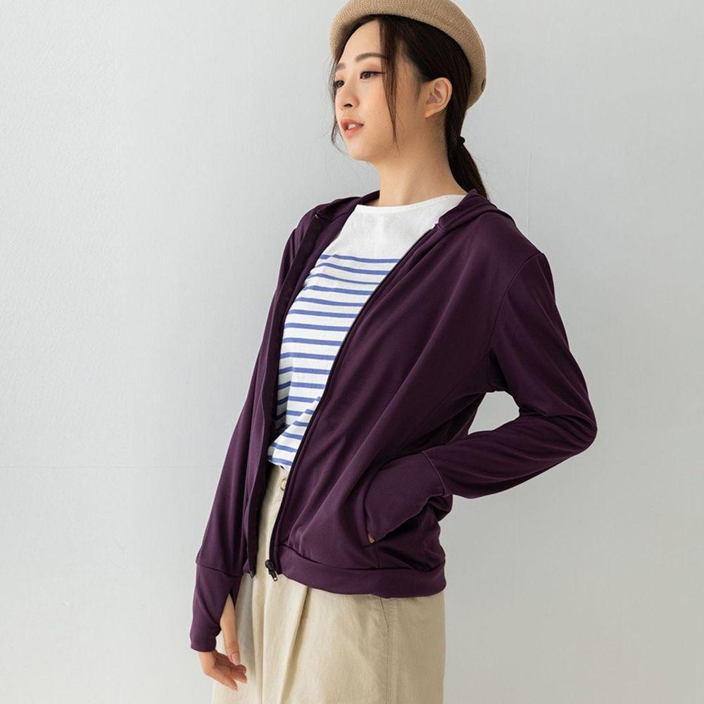 貝柔 Peilou - UPF50+高透氣防曬顯瘦外套-女連帽-深紫色