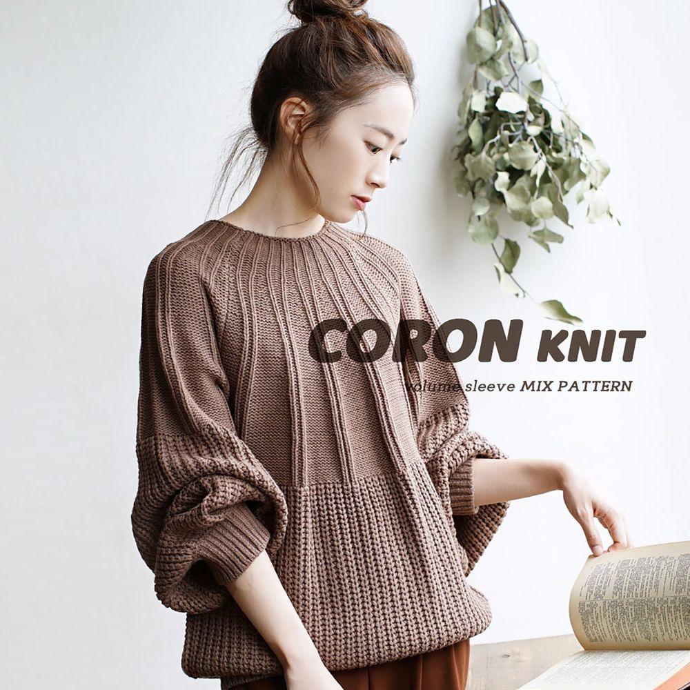 日本 zootie - 立體粗細拼接針織毛衣-咖啡