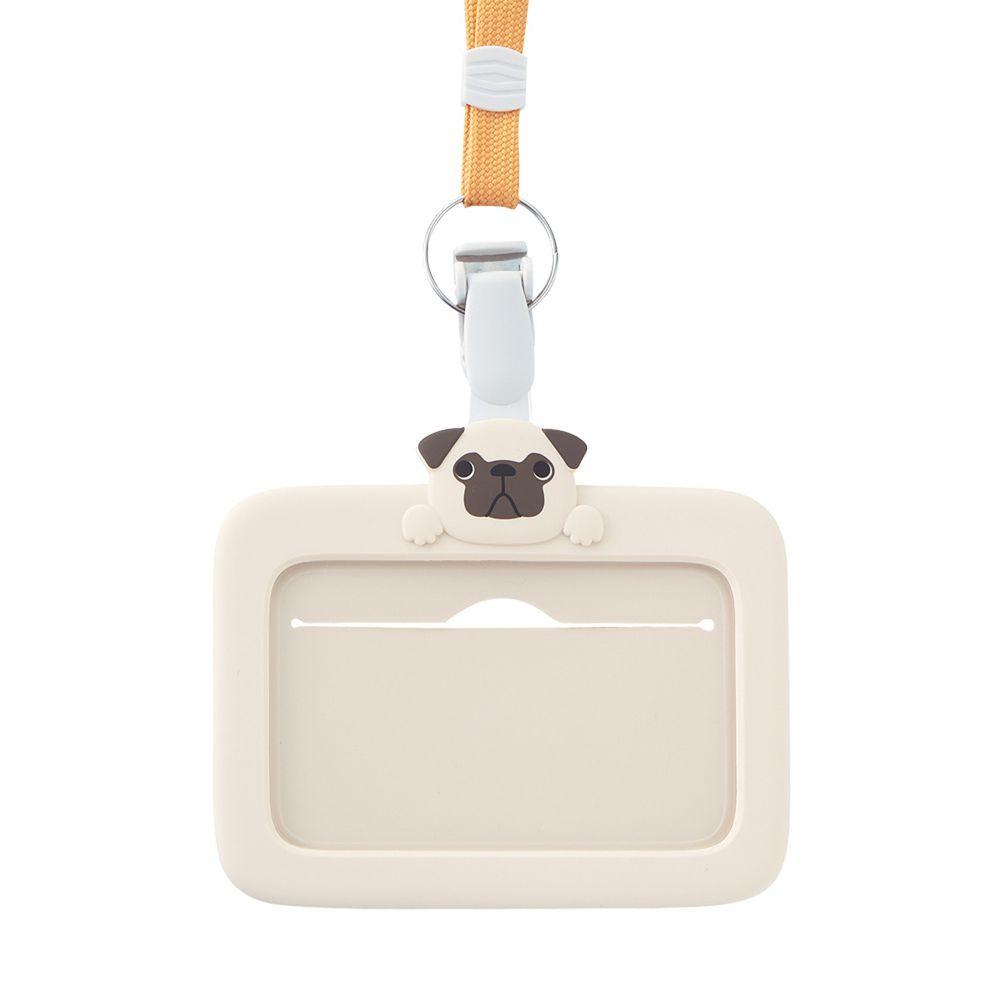 日本文具 LIHIT - 2way掛夾兩用矽膠證件套-哈巴狗