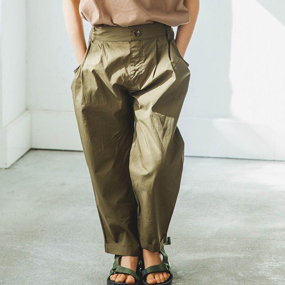 日本 PAIRMANON - 純棉輕薄帥氣打褶哈倫長褲-墨綠