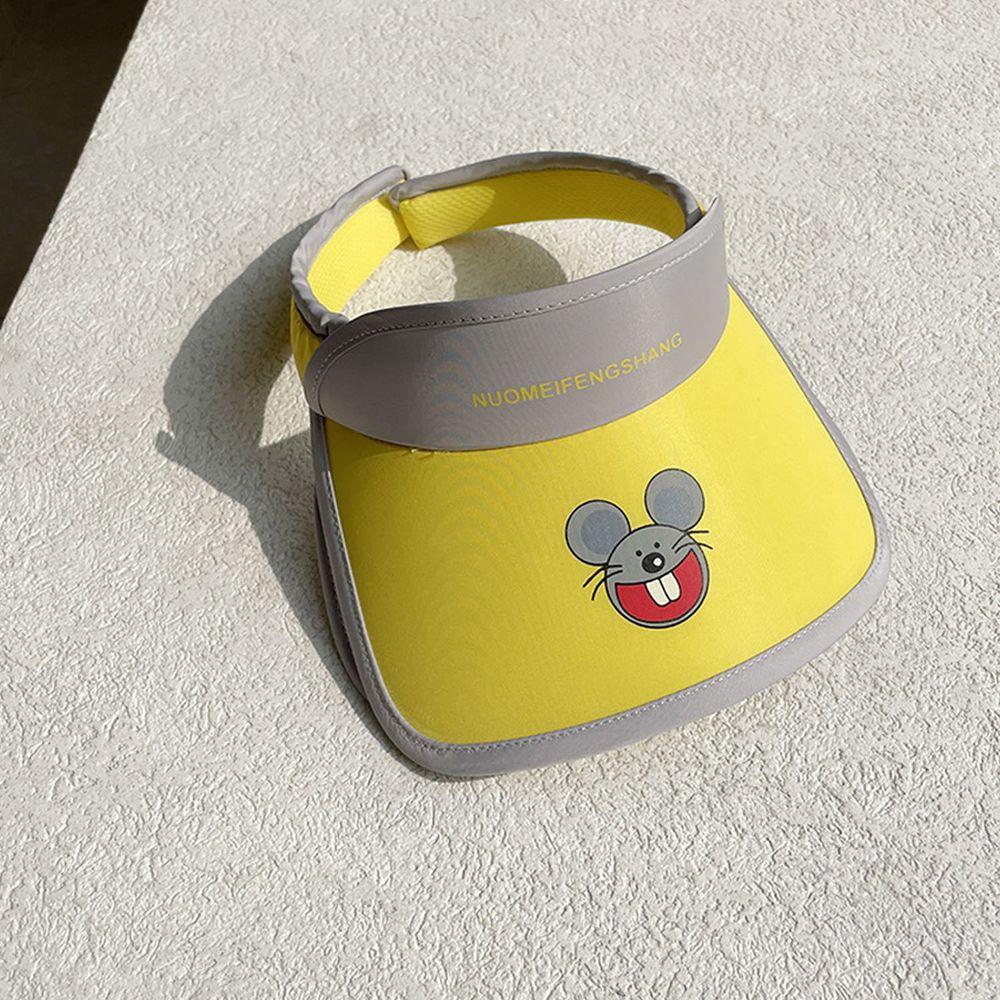兒童大帽沿空頂遮陽帽-小老鼠-黃色 (50-53cm)