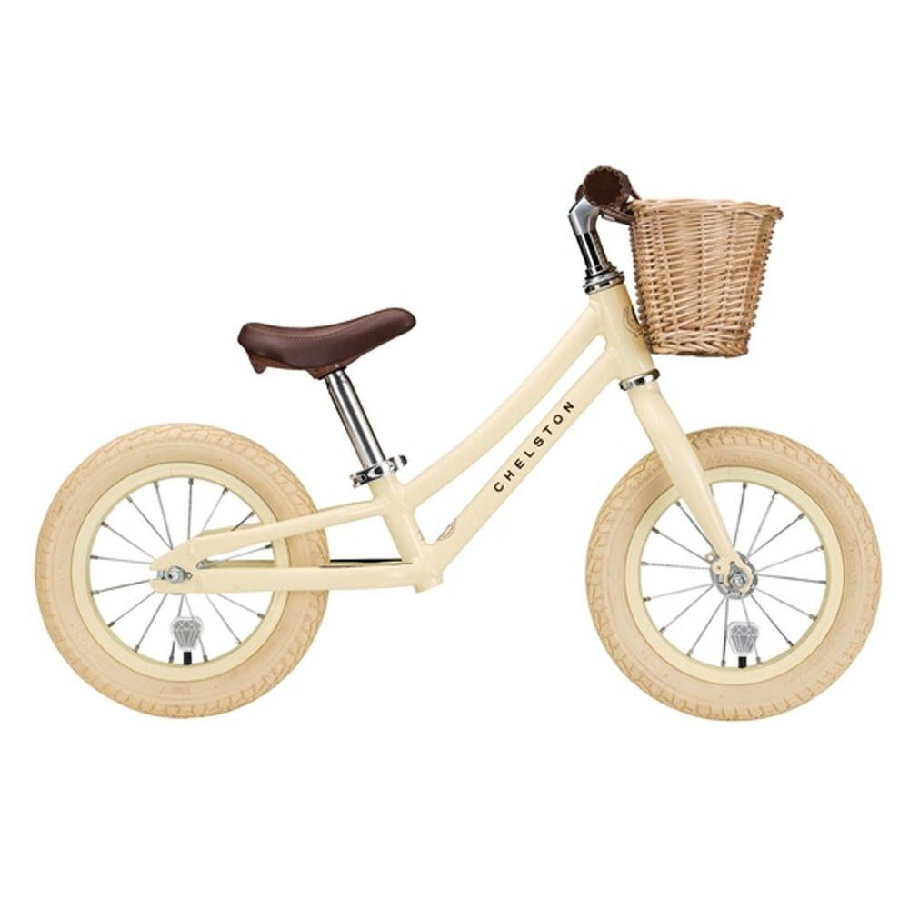 Chelston bikes - Mini Dutch 復古滑步車-香草米-滑步車 x 1 , 手工編織竹籃 x 1 , 麻料內襯  x 1 , 3 歲以下專用ABS氣嘴蓋 x 1