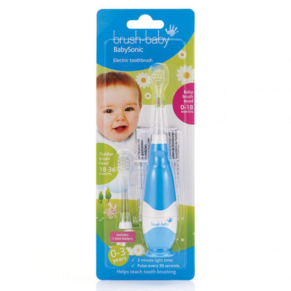 英國 brush-baby - 嬰幼兒聲波電動牙刷(0-3歲用)-粉藍