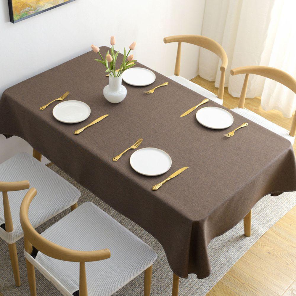 棉麻防水防髒桌布-深咖啡色