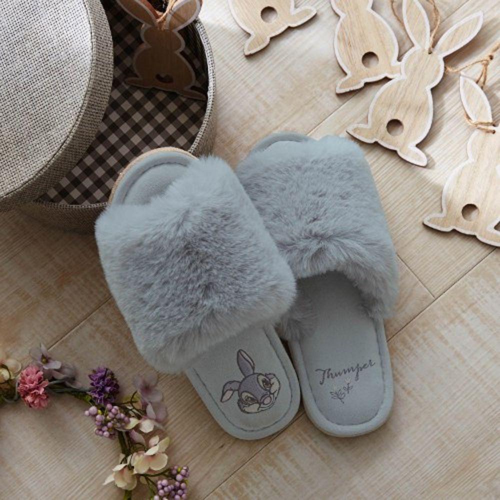 日本千趣會 - 迪士尼室內拖鞋(奢華毛絨款)-桑普兔-灰 (23-25cm)