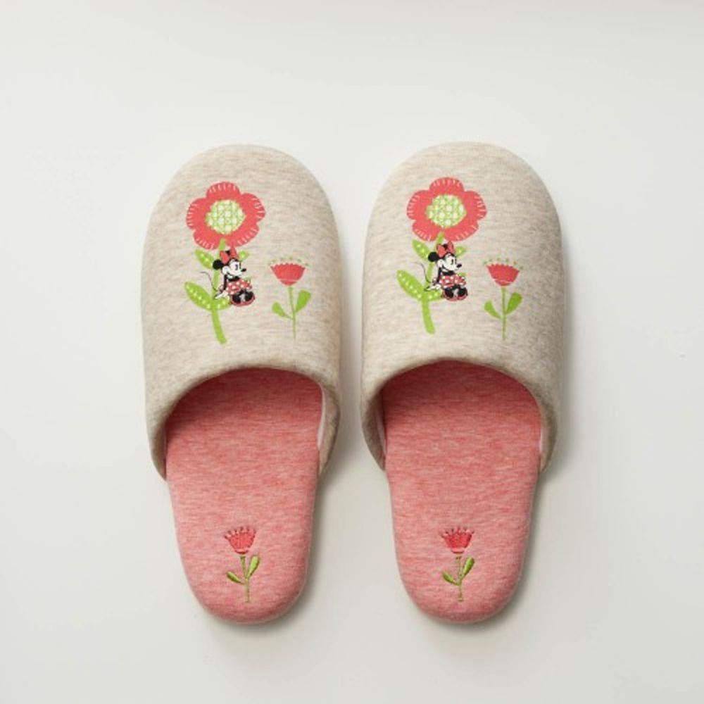 日本千趣會 - 迪士尼室內拖鞋-米妮花花-杏粉紅