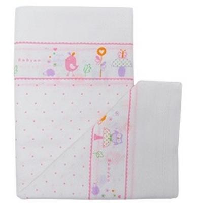 100%純棉澡巾(5入)-粉紅小鳥 (90x90cm)
