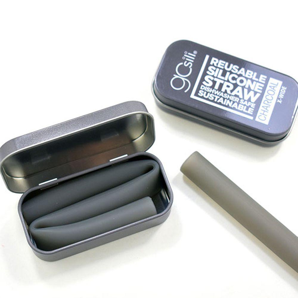 美國GoSili - 單支珍奶吸管隨行組-Charc-附鐵盒-竹炭灰