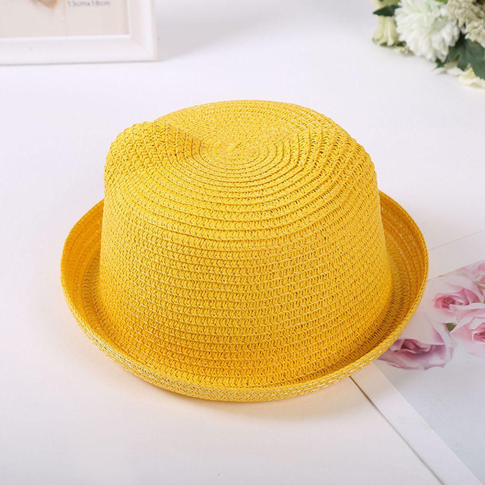 兒童造型遮陽草帽-黃色