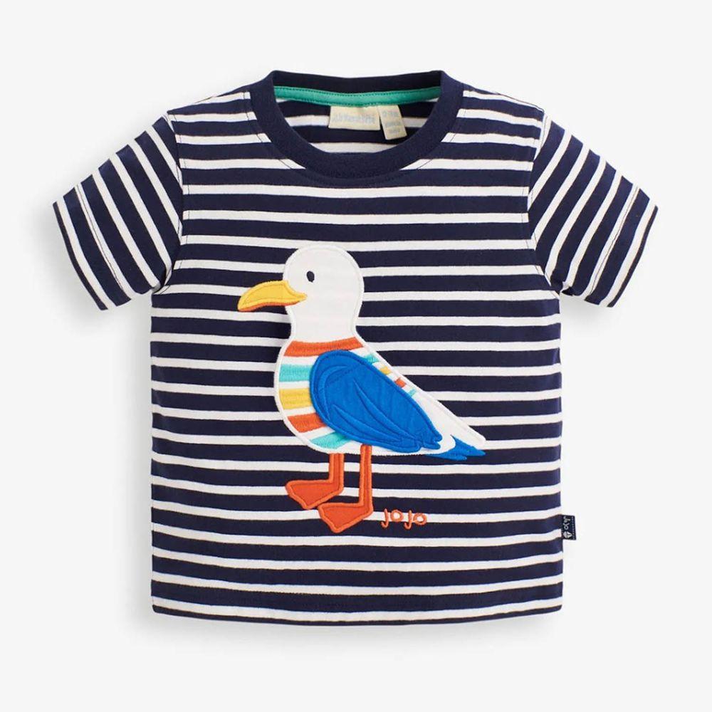 英國 JoJo Maman BeBe - 超優質嬰幼兒/兒童100%純棉短袖上衣/T-shirt/動物T-帥氣海鷗