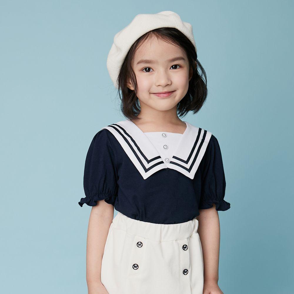 韓國 Coco Bang - 水手花苞袖上衣-深藍