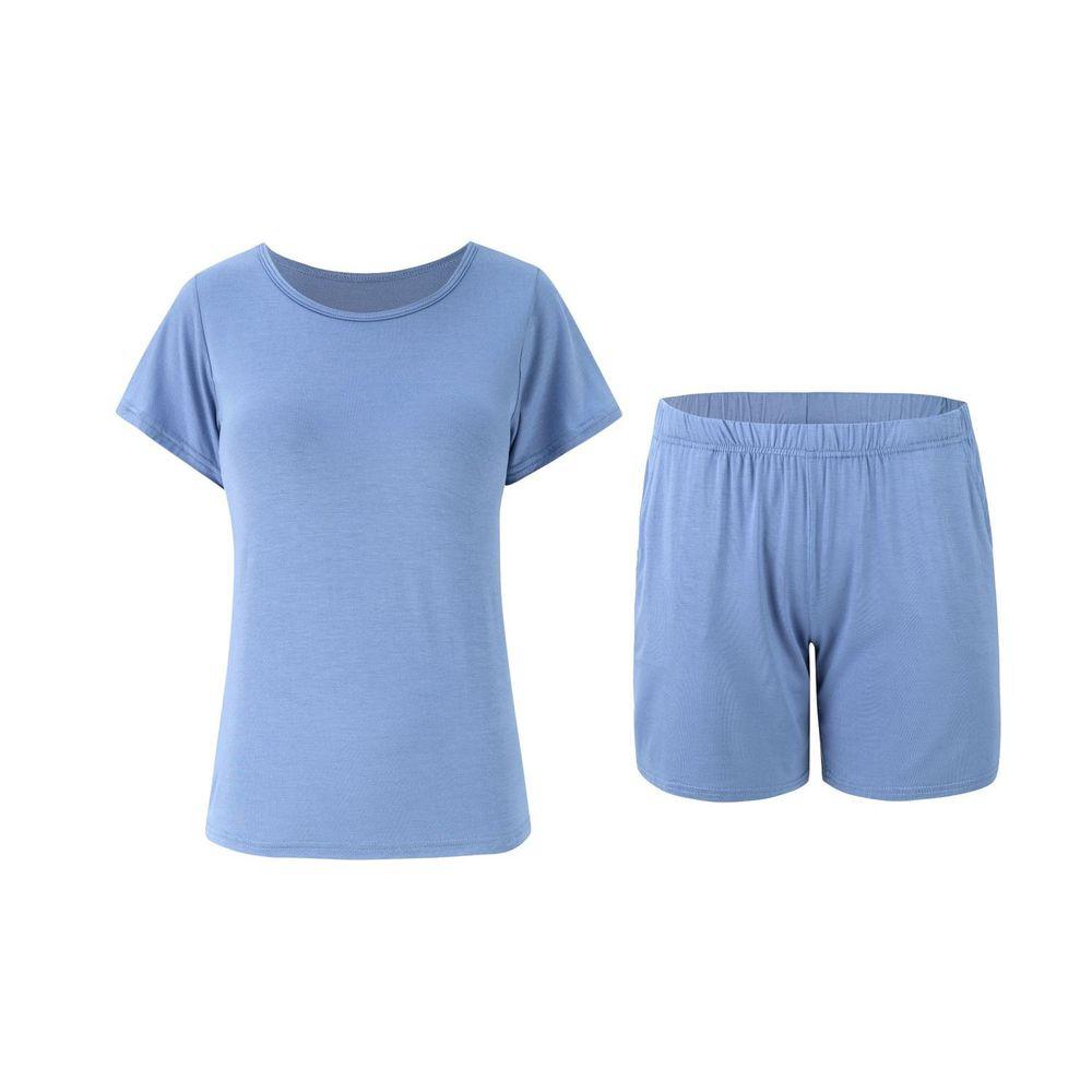 莫代爾柔軟涼感Bra T家居服-短褲套裝-藍色