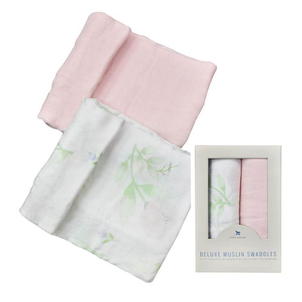 美國 Little Unicorn - 竹纖維紗布巾兩入組-牡丹花香 (120x120CM)