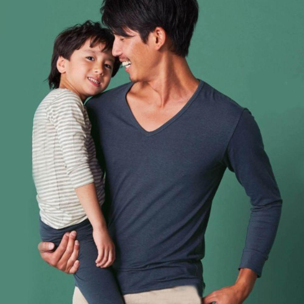 日本千趣會 - 95%棉 (爸爸)V領發熱衣-深藍