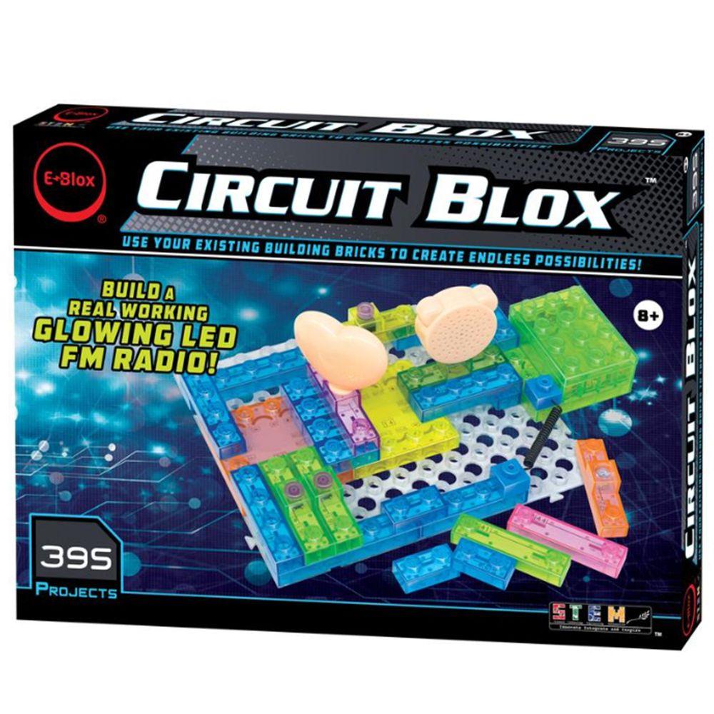 美國 E-Blox - 全能益智聲光積木-變化395(炫彩燈、燈台、電風扇、螺旋槳、收音機、音效機)