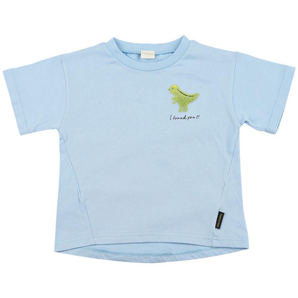 akachan honpo - 短袖趣味T恤-動物刺繡-淺藍色
